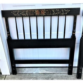 Traditional Hitchcock Twin Black Painted and Stenciled Headboards - a Pair Preview