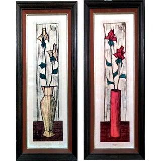 Mid Century Paillava Rose Bud Lithographs-Pair