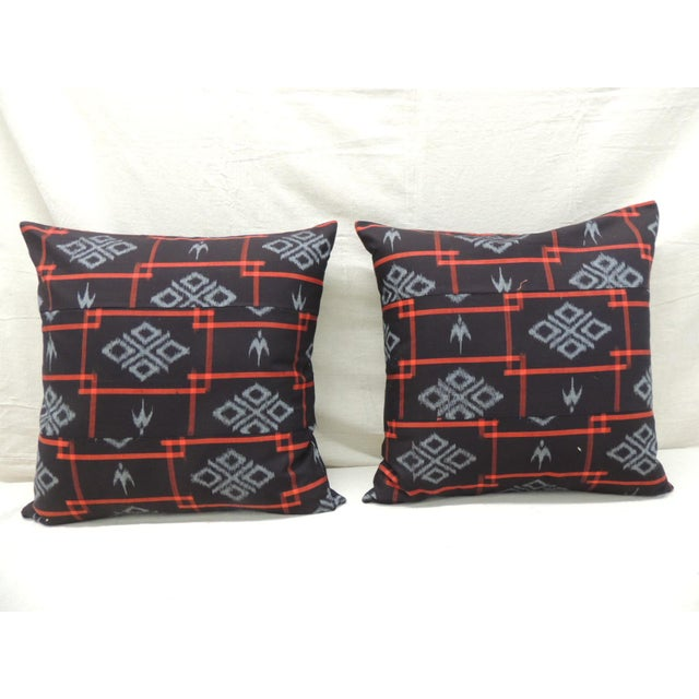Vintage Asian Red & Black Ikat Woven Textile Square Decorative Pillows- a Pair For Sale - Image 9 of 9