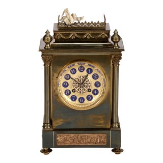19th Century French Gilt Brass 8 Day Mantel Clock For Sale