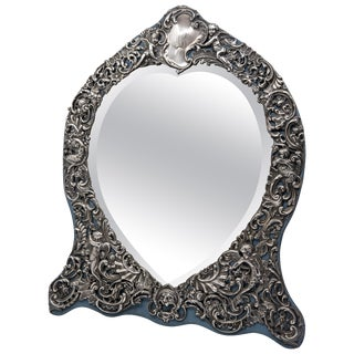 Sterling Silver Victorian Mirror With Elaborate Repousse Work For Sale