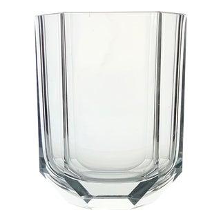 Art Deco Modern Crystal Vase Beveled For Sale