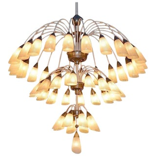 1 of 2 Huge Extra Large 1950s Italian Chandelier With 49 Tulip Glass Shades For Sale