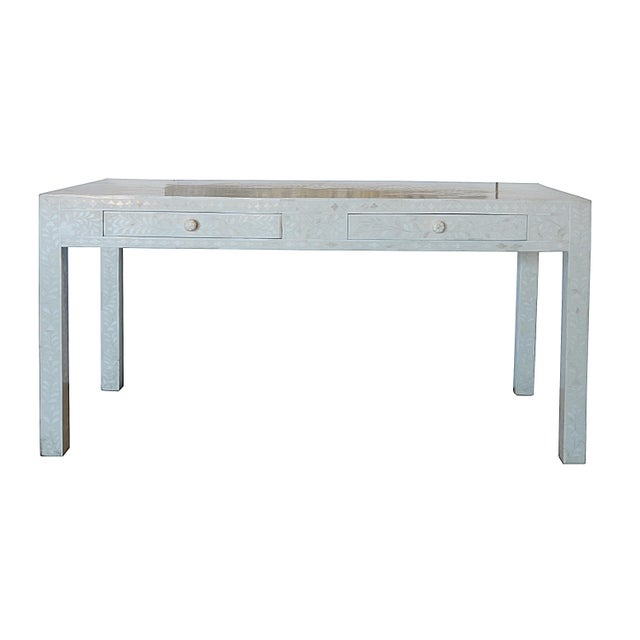 Moroccan Inspired 2 Drawer Bone Inlay Desk For Image 12 Of