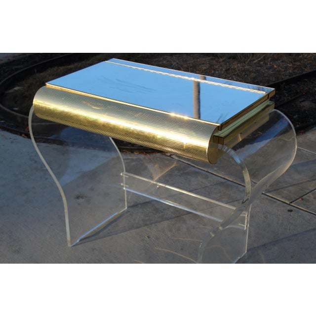 Gold Mid Century Modern Gold and Lucite Vanity For Sale - Image 7 of 10