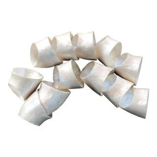 Vintage Capiz Shell Scalloped Napkin Rings - Set of 12 For Sale