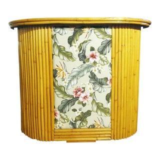 Bark Cloth Hibiscus Front & Formica Top Rattan Bar