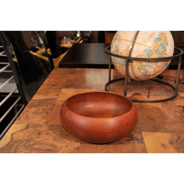 Solid teak hand turned bowl, made in Denmark signed V. Frantz.