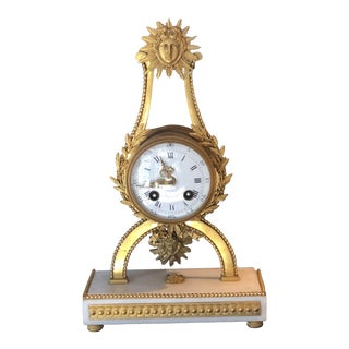 Antique French Hand Chased Dore Bronze Mantle Clock For Sale