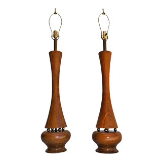 Phillip Lloyd Powell Solid Turned Walnut Table Lamps - a Pair For Sale
