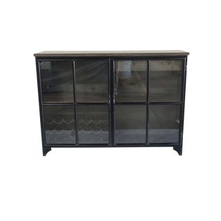 Odila Glass Door Bar Cabinet With Bottle and Glass Storage, Storage Cabinet, Wine Cabinet- Gunmetal Tobacco Black For Sale