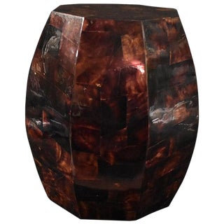 Modern Coconut Shell Inlay Side Table For Sale