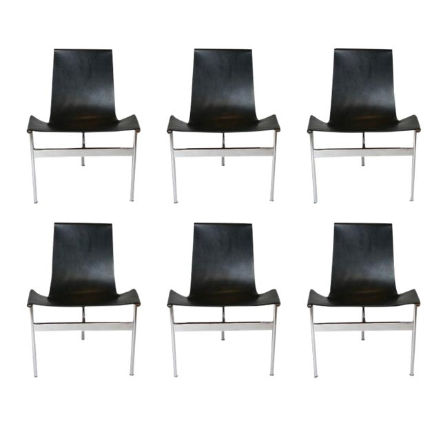 """Set of 6 1952 Katavolos Kelley & Littell for Laverne """"T"""" Chairs in Black Leather For Sale"""