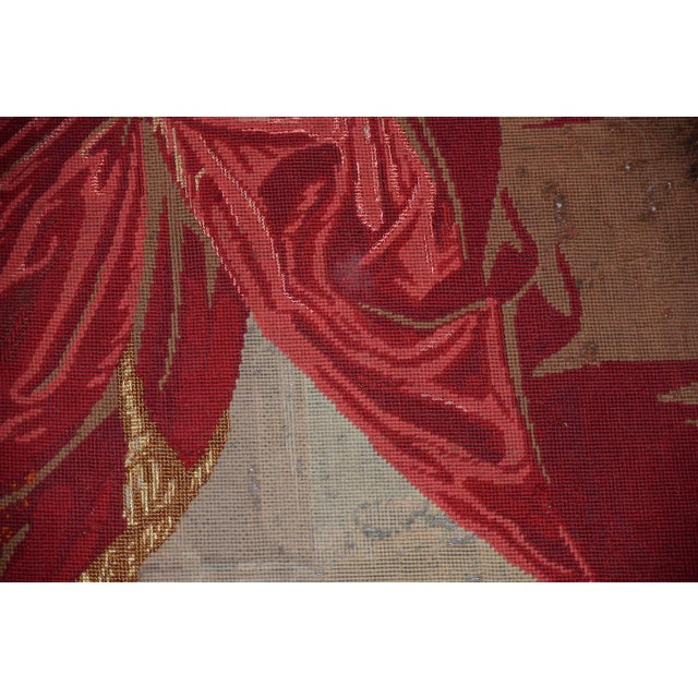 Red George Washington Hand Embroidered Tapestry C. 1850s For Sale - Image 8 of 13