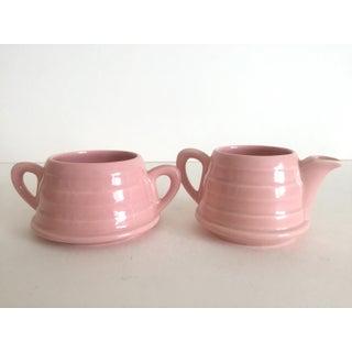 Mid-Century Modern Art Deco Pink English Ceramic Cream & Sugar Set - a Pair Preview