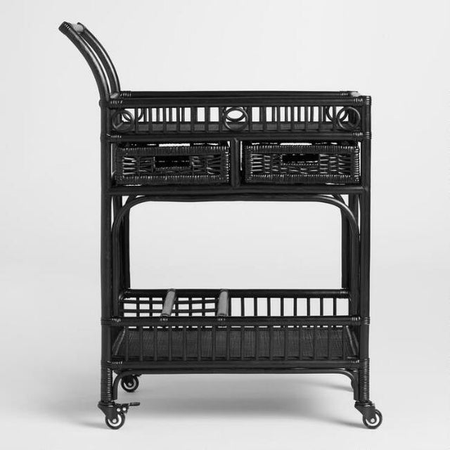 Black Rattan Bar Cart - Image 2 of 4
