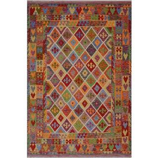Tribal Lesia Gray/Purple Hand-Woven Kilim Wool Rug - 8'4 X 9'8 For Sale