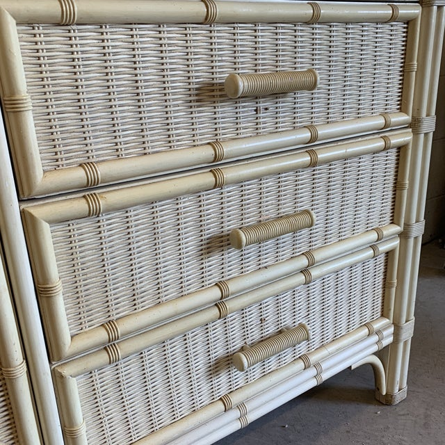 Wicker Henry Link Faux Bamboo and Wicker Dresser With Mirror For Sale - Image 7 of 13