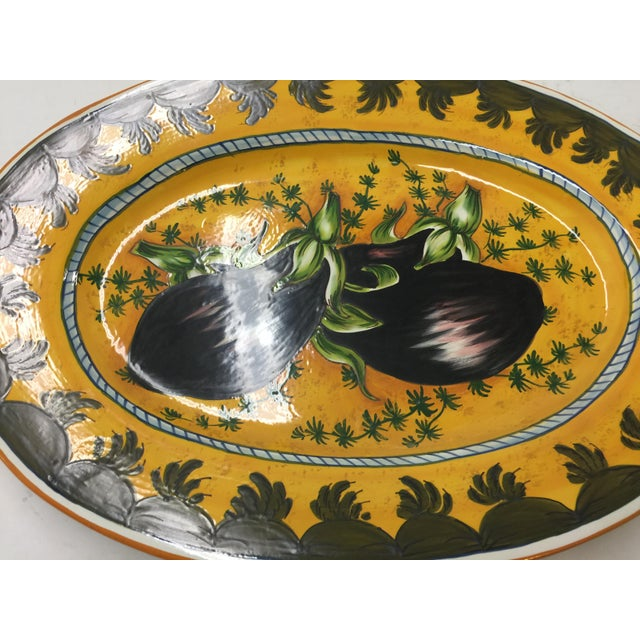 "Oval Italian platter, In excellent condition. Hand painted, measures 17.5"" long x 1.5"" tall 12"" across. No chips or..."