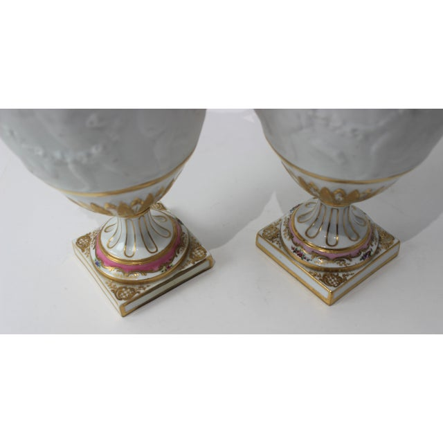 Pink Antique 19th Century Sevres Style Urns - a Pair For Sale - Image 8 of 13