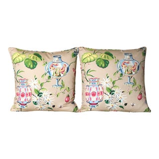 Thibaut Fish Bowl in Taupe Pillow Covers- A Pair For Sale