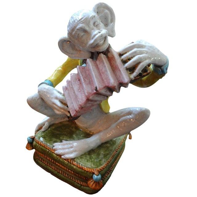 1970s Vintage Glazed Terra-Cotta Monkey Figure For Sale - Image 4 of 8