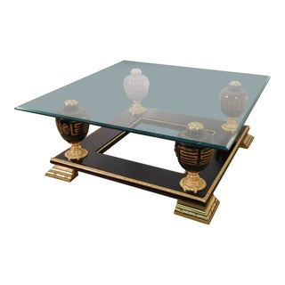 Versace Atelier Greek Key Cameo Gold Gilt Cocktail Table For Sale