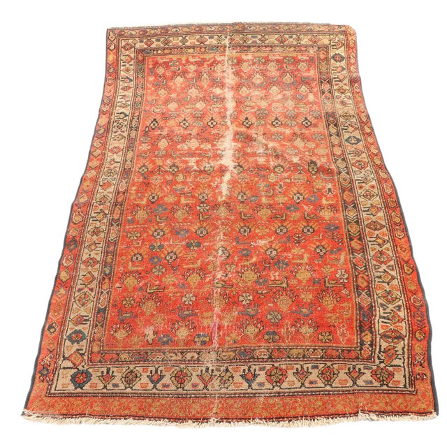 Early 20th Century Antique Hand Knotted Persian Rug-4'4 X 7'7 For Sale