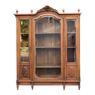 19th Century French Louis XVI Walnut Triple Display Armoire ~ Bookcase For Sale