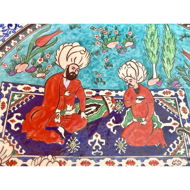 Blue Large Turkish Ottoman Scene Polychrome Hand Painted Ceramic Plate Kutahya For Sale - Image 8 of 13