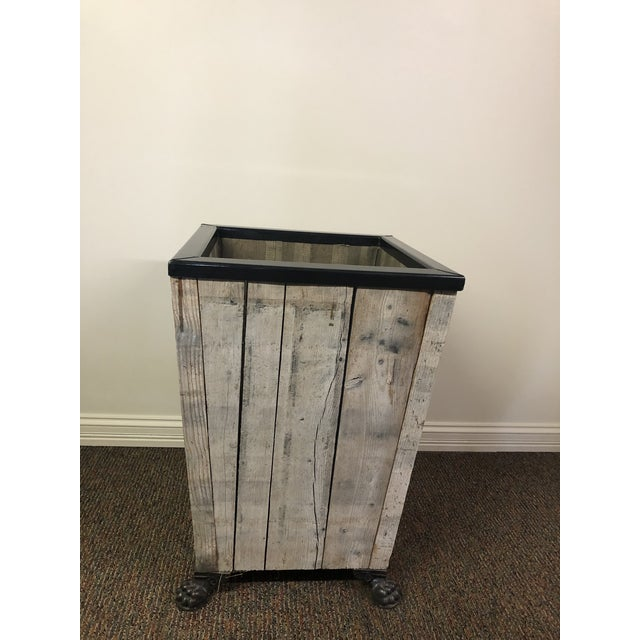 Wood Rustic Vintage Planter/Side Table For Sale - Image 7 of 9