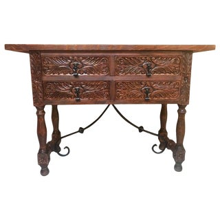 Catalan Spanish Carved Walnut Console Sofa Table, Four Drawers & Iron Stretcher For Sale