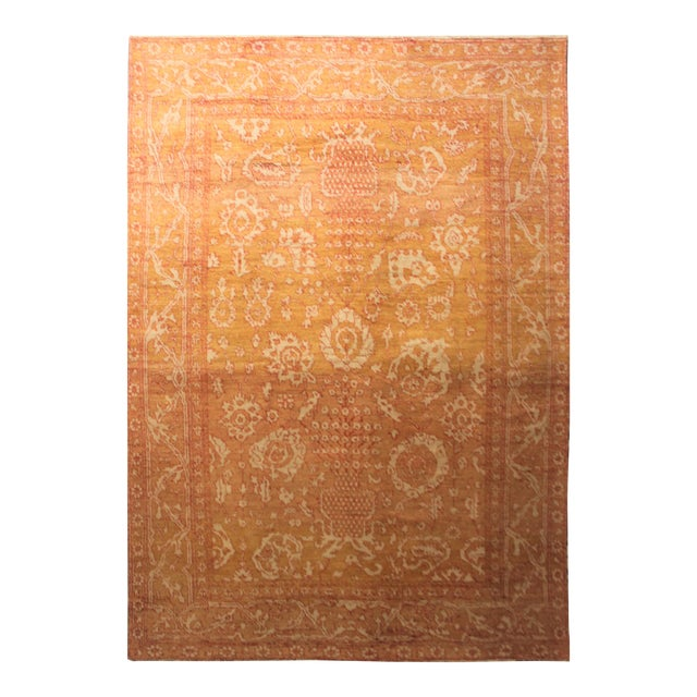 "Hand Knotted Oushak Rug - 13'3"" X 9'6"" For Sale"