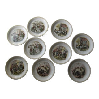 Charles Dickens English Plates- 9 Pieces For Sale