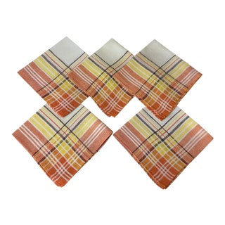Vintage Plaid Linen Napkins in Sunrise Orange and Yellow - Set of 5 For Sale