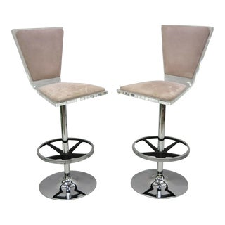 Vintage Mid Century Modern Lucite Swivel Bar Stool Chair by Haziza- A Pair For Sale