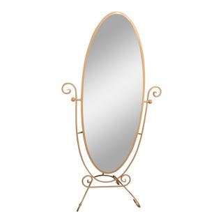 Ivory Distressed Standing Mirror For Sale
