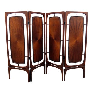 Mid-Century Modern Four Panel Folding Screen For Sale