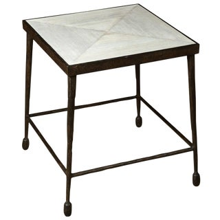 Customizable Paul Marra Iron and Douglas Fir Inset Side Table For Sale