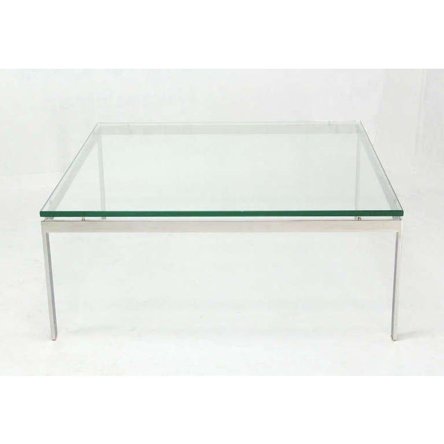 Transparent Mid-Century Modern Style Large Square Stainless Base and Glass-Top Coffee Table For Sale - Image 8 of 9