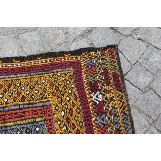 Tribal Vintage Vivid Color Cicim Kilim Rug - 3′4″ × 3′5″ For Sale - Image 9 of 13