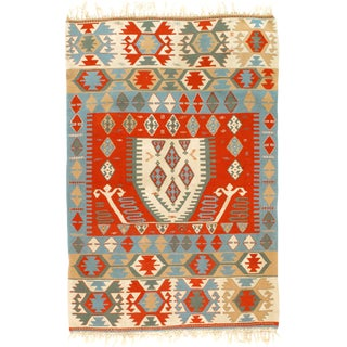 1960s Vintage Turkish Kilim Rug - 3′10″ × 5′9″ For Sale