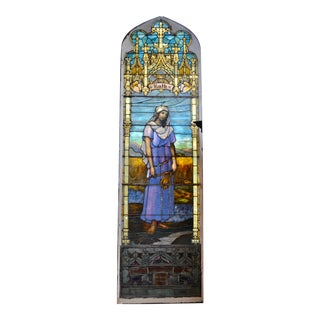 Large Gothic Stained Art Glass Window Depicting Ruth For Sale