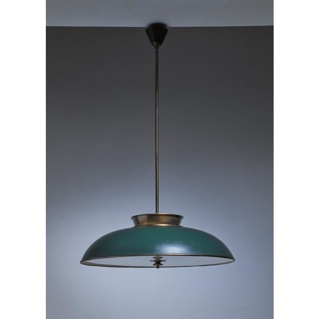 Mid-Century Modern Large Swedish brass pendant lamp by Harald Notini, 1930s For Sale - Image 3 of 6