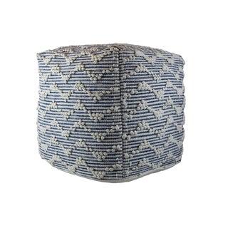 Square Stuffed Indigo Blue Cotton Pouf Handmade Fabric Ottoman For Sale