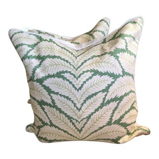 Custom Made Brunschwig & Fils Talavera Leaf Pillows - a Pair