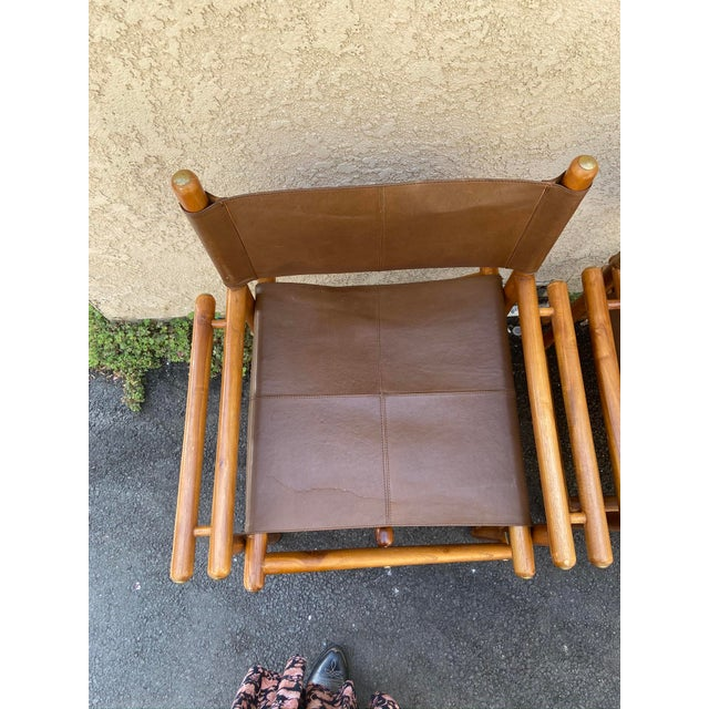 Mid-Century Modern Vintage Set of 4 Leather Safari Chairs For Sale - Image 3 of 13