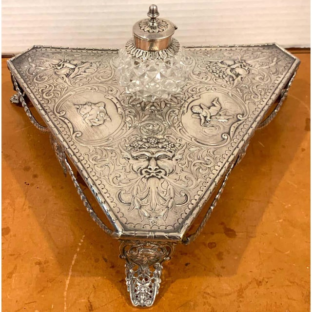18th Century Georgian Sterling and Cut Glass Triangular Inkstand, London, 1777 For Sale - Image 5 of 13