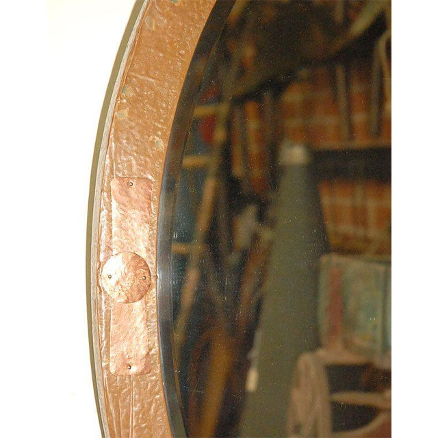 English Traditional Oval Mirror in Copper and Brass Frame For Sale - Image 3 of 7