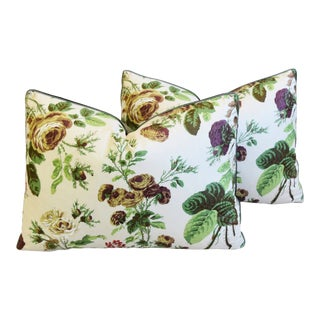 "Colefax & Fowler Chintz Rose Feather/Down Pillows 22"" X 17"" - Pair For Sale"